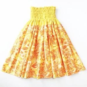 パウ スカート 67cm 72cm 77cm ハワイアン ブレッドフルーツ(ウル)&リーフ〈イエロー オレンジ〉 パンノキ 4本ゴムフラダンス 衣装 日本製 むら染め|atelier-ayumi