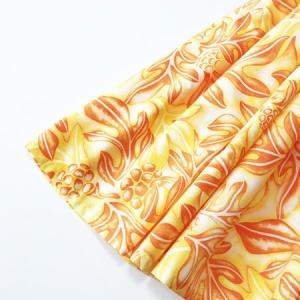 パウ スカート 67cm 72cm 77cm ハワイアン ブレッドフルーツ(ウル)&リーフ〈イエロー オレンジ〉 パンノキ 4本ゴムフラダンス 衣装 日本製 むら染め|atelier-ayumi|02