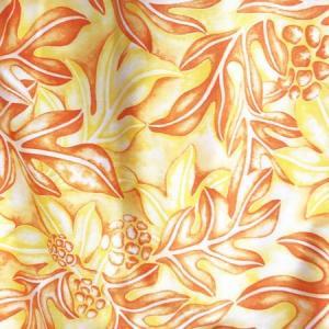 パウ スカート 67cm 72cm 77cm ハワイアン ブレッドフルーツ(ウル)&リーフ〈イエロー オレンジ〉 パンノキ 4本ゴムフラダンス 衣装 日本製 むら染め|atelier-ayumi|03