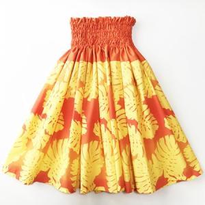 パウ スカート 67cm 72cm 77cm モンステラ グラデーション〈オレンジ&イエロー〉  4本ゴムフラダンス 衣装 4ヤードパウ 日本製 黄 ビタミンカラー リーフ atelier-ayumi