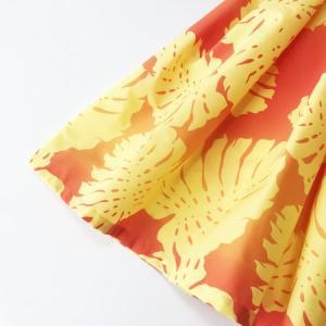 パウ スカート 67cm 72cm 77cm モンステラ グラデーション〈オレンジ&イエロー〉  4本ゴムフラダンス 衣装 4ヤードパウ 日本製 黄 ビタミンカラー リーフ atelier-ayumi 02