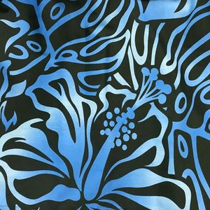 パウスカート 72cm 77cm ウエスト無地 ハイビスカス & モンステラ グラデーション総柄〈ブラック&ブルー〉 送料無料 ハワイアン フラダンス衣装 4本ゴム黒|atelier-ayumi|03