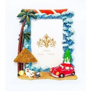 ビッグウェーブ & ワーゲン ビートル フォトフレーム ハワイアン雑貨 ヤシの木 ビーチパラソル サーフボード 写真立て atelier-ayumi