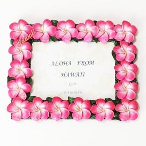 プルメリア フォトフレーム ピンク ハワイアン雑貨 写真立て 結婚式 ハワイアンウエディングに 卒業式などの思い出作りに 南国 トロピカル 芳香剤|atelier-ayumi