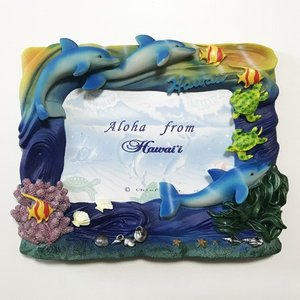 ドルフィン ホヌ エンジェルフィッシュ フォトフレーム ハワイアン雑貨 写真立て 結婚式 ハワイアン ウエディングに 南国 トロピカル いるか 海亀 カメ|atelier-ayumi