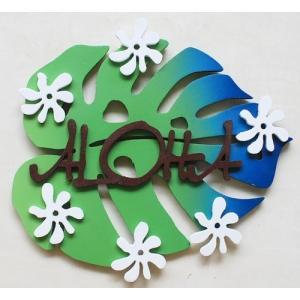 ハワイアンハンガー【モンステラとティアレのALOHAプレート】 アロハプレート ハワイアンインテリア ハワイアン雑貨|atelier-ayumi