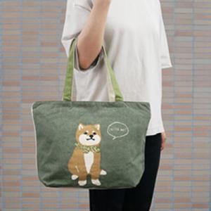 柴犬 ミニ トート バッグ〈コン/グリーン〉 クリックポスト 送料無料 綿100% インド製 帆布 わんこグッズ フレンチ ブルドック atelier-ayumi