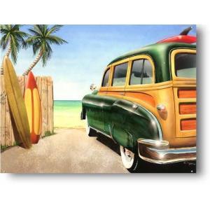 〈ブリキ看板〉ビーチサイドのウッディーワゴン〈ハワイアン雑貨〉〈アメリカン雑貨〉ティンプレート・ティンサイン・サインプレート ハワイアンインテリア|atelier-ayumi
