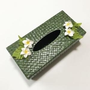 パンダンティッシュケース(ボックス用)プルメリア〈ブラック/カーキ〉〈ハワイアン雑貨〉ティッシュボックスカバー アジアンインテリア|atelier-ayumi