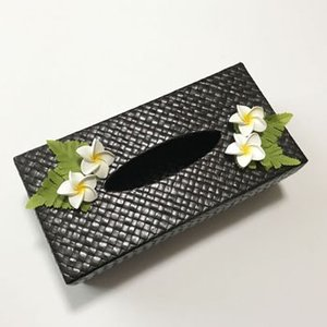 パンダンティッシュケース(ボックス用)プルメリア〈ブラック/カーキ〉〈ハワイアン雑貨〉ティッシュボックスカバー アジアンインテリア|atelier-ayumi|02