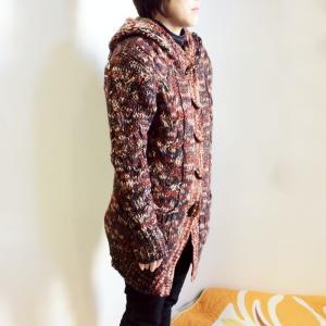 裏ボア付き マーブル編み ニット カーディガン〈ブラウン〉 フリーサイズ 条件付き送料無料 エスニック アウター トップス|atelier-ayumi