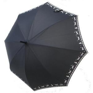 レディース 雨傘 長傘 黒ネコ 裾柄 ピンク/ブラック 60cm ジャンプ傘 猫グッズ リゾートアイテム ジャンプ傘 アンブレラ|atelier-ayumi