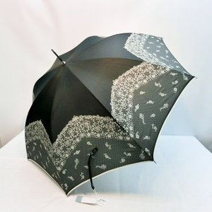 レディース雨傘 長傘 ポリエステル 細巻き婦人ジャンプ プリント 雨傘 2段レース柄 リゾートアイテム ジャンプ傘 アンブレラ|atelier-ayumi