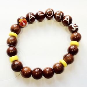 ハイビスカス と ホヌ の アロハ ブレスレット  イエロー ハワイアン雑貨 ハワイアンアクセサリー クリックポスト対応可能|atelier-ayumi