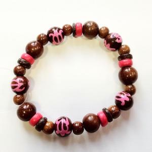 ホヌブレスレット ペイントウッドビーズ 〈ピンク〉 メール便対応可能 ハワイアン雑貨 ハワイアン アクセサリー  ブレス|atelier-ayumi