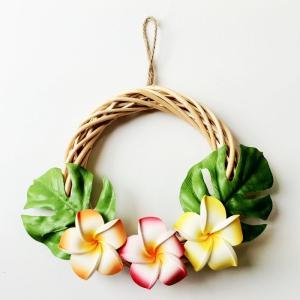 ハワイアン リース ホワイト 白木 プルメリア〈オレンジ系〉ハワイアンインテリア ハワイアン雑貨|atelier-ayumi
