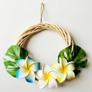 ハワイアン リース ホワイト 白木 プルメリア〈ブルー系〉ハワイアンインテリア ハワイアン雑貨|atelier-ayumi
