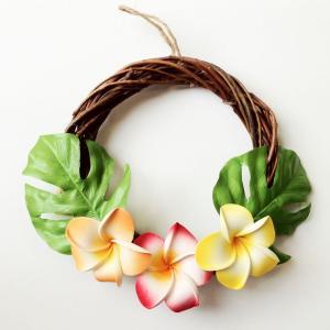 ハワイアン リース ブラウン プルメリア〈オレンジ系〉ハワイアンインテリア ハワイアン雑貨|atelier-ayumi