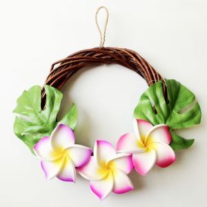 ハワイアン リース ブラウン プルメリア〈ピンク系〉ハワイアンインテリア ハワイアン雑貨|atelier-ayumi