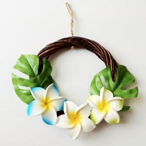 ハワイアン リース ブラウン  プルメリア〈ブルー系〉ハワイアンインテリア ハワイアン雑貨|atelier-ayumi