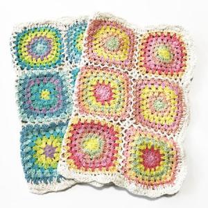 編み込み クロシェ ランチョン マット 33×43cm 2色組 2枚〈ピーチ&ソーダ〉インド製 綿100% 送料無料 テーブルセンターやインテリアに カラフルでかわいい|atelier-ayumi