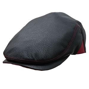 帽子 鹿革(エゾシカ) ハンチング カモノハシ型 ブラック×レッド|atelier-doraneko