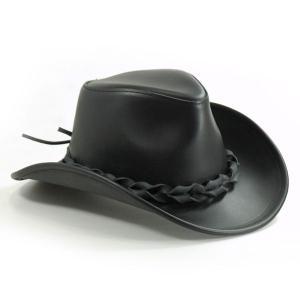 帽子 ヌメ革のウエスタンハット(テンガロンハット/カウボーイハット)/艶ブラック|atelier-doraneko