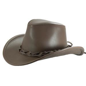 帽子 ヌメ革のウエスタンハット(テンガロンハット/カウボーイハット)/艶ブラウン|atelier-doraneko