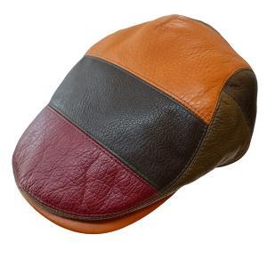 帽子 鹿革(エゾシカ) ハンチング カモノハシ型 4カラーブロック|atelier-doraneko