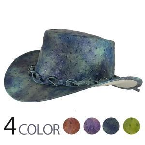 帽子 ウエスタンハット フェイクレザー オーストリッチタイプ|atelier-doraneko