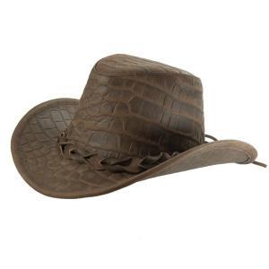 帽子 ヌメ革のウエスタンハット【鰐(ワニ)】-型押しクロコダイル|atelier-doraneko