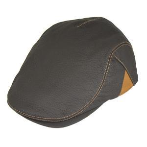 帽子 鹿革(エゾシカ) ハンチング カモノハシ型 ブラウン×キャメル|atelier-doraneko