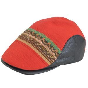 帽子 ハンチング 優佳良織×どら猫オリジナル サンゴソウ+エゾ鹿革ブラック  手作り日本製|atelier-doraneko