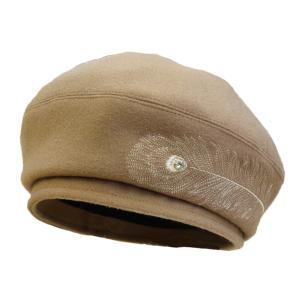 帽子 ベレー フェザー刺繍のベレー帽 キャメル どら猫オリジナル|atelier-doraneko