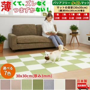 【送料無料】サンコー おくだけ吸着 3mm 撥水タイルマット 床暖房対応 フローリング 滑り止め 犬 猫 床 保護マット 30×30cm