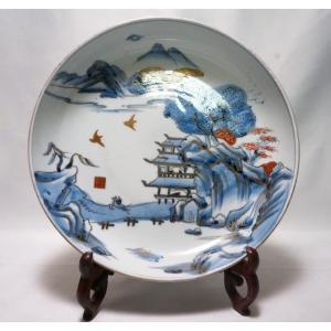 【伊万里・中皿】 時代物 印判 染付 金彩 月弓 風景画 28cm【幕末】|atelier-erica