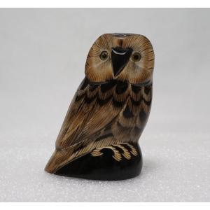 ふくろう 9cm 梟 フクロウ 置物 Owl 【水牛の角】|atelier-erica