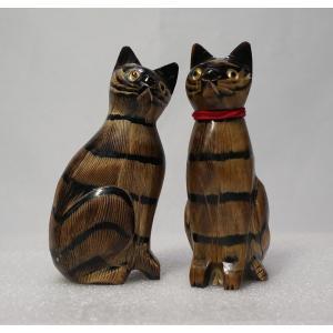 送料無料 縞ネコ ペア 10cm 猫 ちゃとら Cat【水牛の角】 atelier-erica