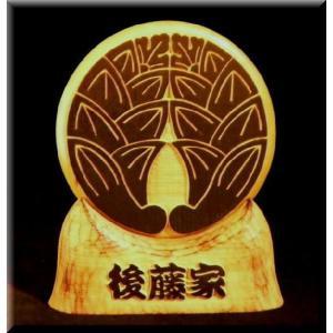KKs-4k家紋盾4号(白木家紋文字部墨載せ)勘亭流 atelier-owl