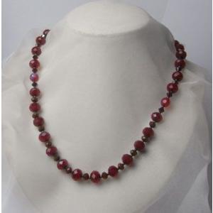 赤メノウ・グラスビーズのネックレス【赤いネックレス2】|atelier-ti