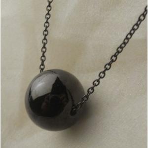 遺骨ペンダント ブラックロジウム(シルバー925)球型デザイン・ 50cmチェーン【完全防水】|atelier-ti
