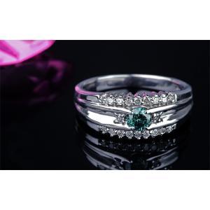 ブルーダイヤモンド リング 指輪 0.3ct K18WG...