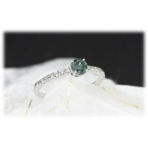 ブルーダイヤモンド リング 指輪 0.3ct K18WG ...