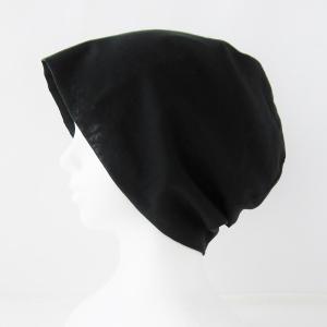 抗がん剤等脱毛時の帽子 ケア帽子 医療用帽子 にも使える 夏に涼しく下地にもなる ゆったりガーゼ帽子 黒|atelierf