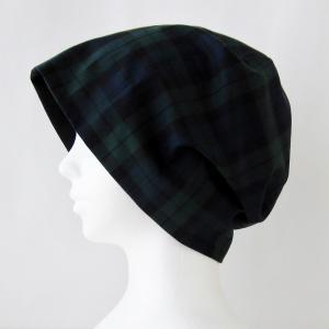 抗がん剤等脱毛時の帽子 ケア帽子 医療用帽子 にも使える 夏に涼しく下地にもなる ゆったりガーゼ帽子 ブラックウォッチ 黒|atelierf