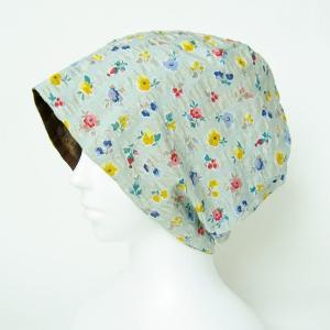 抗がん剤等脱毛時の帽子 ケア帽子 医療用帽子 にも使える 夏に涼しく下地にもなる ゆったりガーゼ帽子 グリーングレー花柄 チョコレートブラウン|atelierf