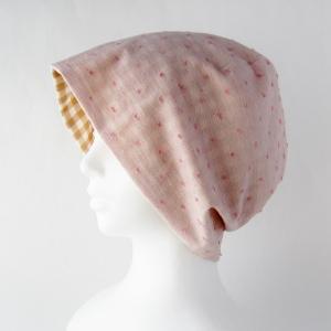 医療用帽子 抗がん剤帽子 脱毛時の帽子 ケア帽子 にも使える 夏に涼しく下地にもなる ゆったりガーゼ帽子 水玉ピンク ライトブラウンチェック|atelierf