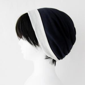ターバン風帽子 紺 生成 夏用 ガーゼ リバーシブル 医療用帽子 抗がん剤帽子 脱毛時の帽子 ケア帽子にも|atelierf