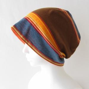 医療用帽子 抗がん剤帽子 脱毛時の帽子 ケア帽子 にも使える ゆるいリバーシブル帽子 ランダムボーダー オレンジ|atelierf