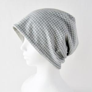 医療用帽子 抗がん剤帽子 脱毛時の帽子 ケア帽子 にも使える ゆるいリバーシブル帽子 ライトグレーチェック ベージュまだら|atelierf